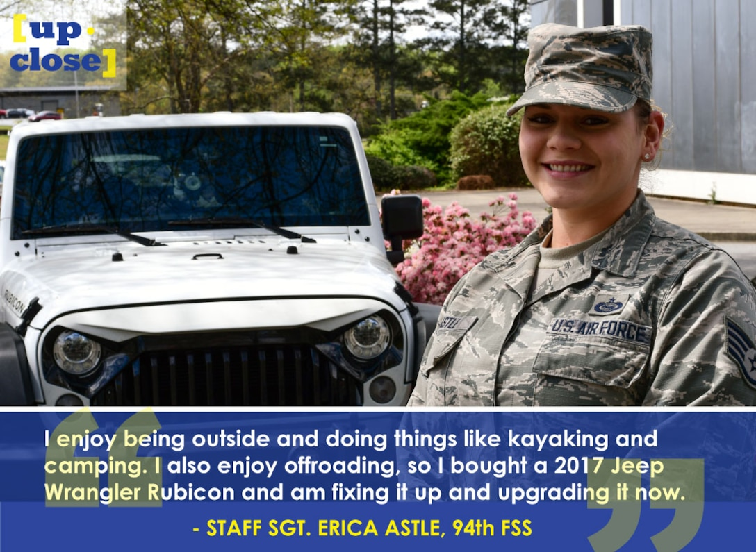 This week's Up Close features Staff Sgt. Erica Astle, a 94th Force Support Squadron education and training manager. Up Close is a series spotlighting individuals around Dobbins Air Reserve Base. (U.S. Air Force graphic and photo/Staff Sgt. Andrew Park)