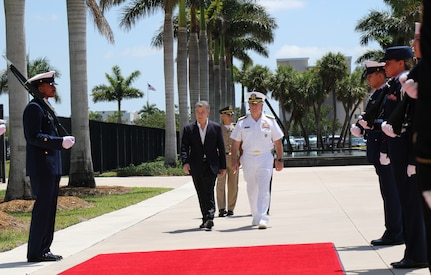 Colombian President Santos arrives at U.S. Southern Command