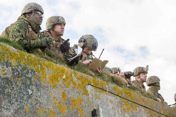 Marines with 4th Air Naval Gunfire Liaison Company, Force Headquarters Group, gather at an observation point to figure out possible target locations during a close air support exercise at the Tain Gunfire Range in Tain, Scotland, April 24, 2018.