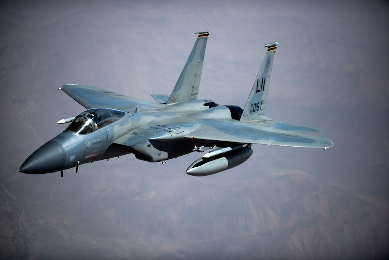 An F-15C Eagles assigned to the 493rd Fighter Squadron flies above Morocco during Exercise African Lion April 20, 2018. Various units from the U.S. Armed Forces will conduct multilateral and stability operations training with units from the Royal Moroccan Armed Forces in the Kingdom of Morocco. This combined multilateral exercise is designed to improve interoperability and mutual understanding of each nation's tactics, techniques and procedures while demonstrating the strong bond between the nation's militaries. (U.S. Air Force photo/Senior Airman Malcolm Mayfield)