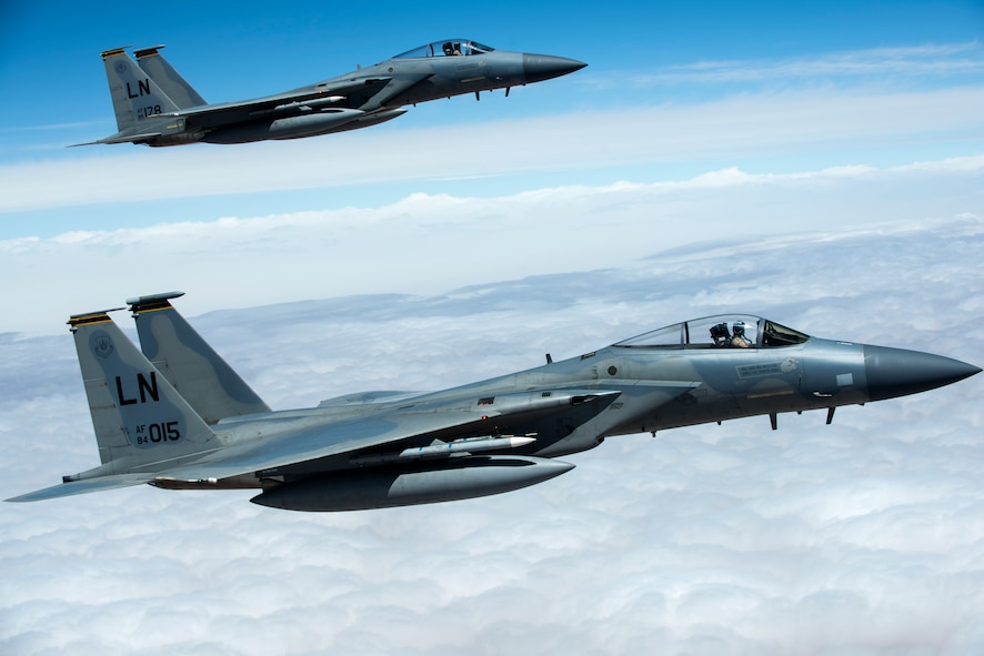 A formation of F-15C Eagles assigned to the 493rd Fighter Squadron flies over Morocco during Exercise African Lion April 20, 2018. Various units from the U.S. Armed Forces will conduct multilateral and stability operations training with units from the Royal Moroccan Armed Forces in the Kingdom of Morocco. This combined multilateral exercise is designed to improve interoperability and mutual understanding of each nation's tactics, techniques and procedures while demonstrating the strong bond between the nation's militaries. (U.S. Air Force photo/Senior Airman Malcolm Mayfield)