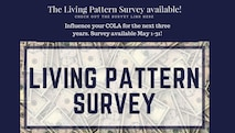 The Living Pattern Survey asks Service Members which local stores they shop in and how much (the percentage) they buy from the Commissary and Exchange. For example, the Living Pattern Survey may show that Service Members typically buy half their clothing in local stores (with foreign currency) and half at the exchange (with U.S. dollars). Using information from the Living Pattern Survey, price collectors in many overseas locations conduct a market basket survey (Retail Price Schedule) each year, pricing about 120 goods and services. (U.S. Air Force graphic by Senior Airman Sadie Colbert)