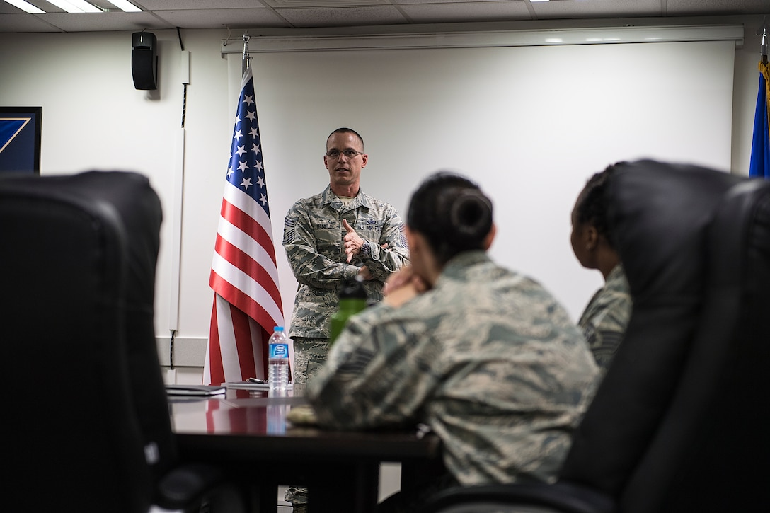 Command Chief speaks during an All Call
