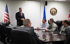 Commander speaks during Commander's Call