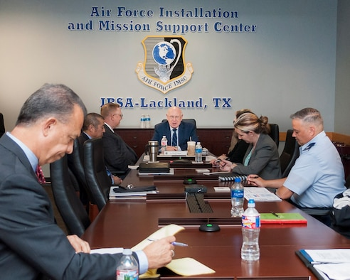 At center, Rich Lombardi, deputy under secretary of the Air Force for management, and deputy chief management officer, office of the under secretary of the Air Force, chairs a category management council meeting at Air Force Installation and Mission Support Center headquarters at Joint Base San Antonio-Lackland, Texas, April 23, 2018. Lombardi is the Air Force's category management account official and is tasked with overseeing the effort as it rolls out across the enterprise. (U.S. Air Force photo by Malcolm McClendon)