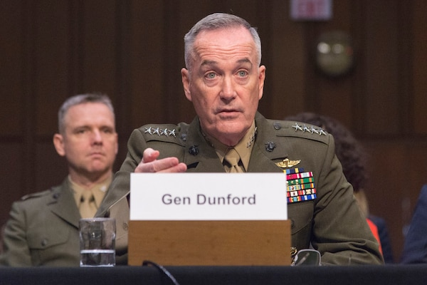 Marine Corps Gen. Joseph F. Dunford, chairman of the Joint Chiefs of Staff, testifies at a hearing.