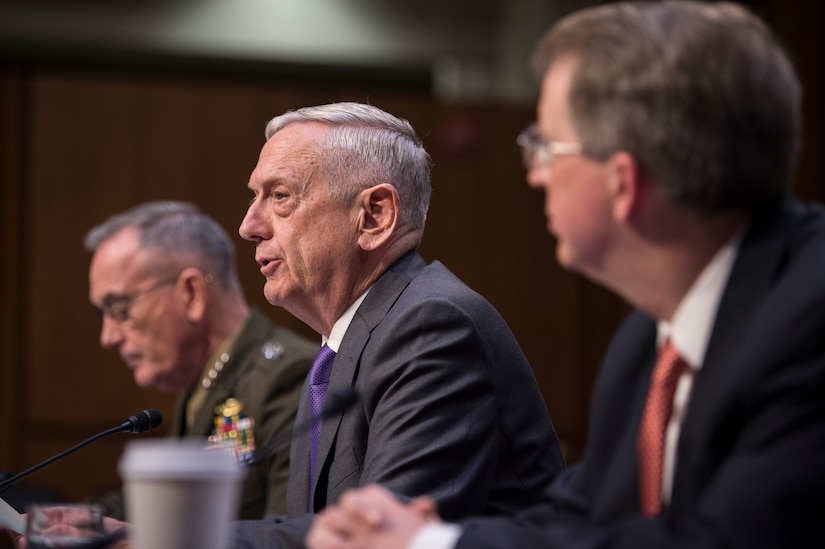 Defense Secretary James N. Mattis testifies on the Defense Department's posture and fiscal year 2019 budget to the Senate Armed Services Committee.