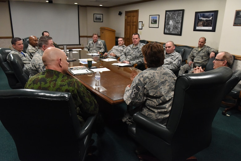 Pennsylvania Command Chief Master Sergeant Regina Stoltzfus and Lithuanian Command Sergeant Major Nerijus Petravičius, as part of the State Partnership Program, visited the 171st Air Refueling Wing in Coraopolis, Pa. April 8, 2018. The pair took time to visit with Airmen, answer questions, give feedback and tour the facilities. (U.S. Air National Guard Photo by Senior Airman Kyle Brooks)