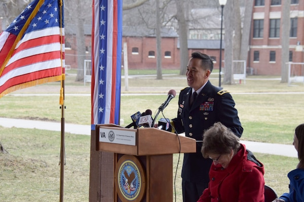 U.S. Army Corps of Engineers, Great Lakes and Ohio River Division Commander, Brig. Gen. Mark Toy speaks at the Canandaigua VA Medical Center groundbreaking ceremony for Phase I of a facility construction project Apr. 10, 2018. Phase I work includes demolition of Building #2, construction of a Chiller/Emergency Generator Plant and Outpatient Clinic, and renovates Building #1. (Photo by Andrew Kornacki, USACE Buffalo District)