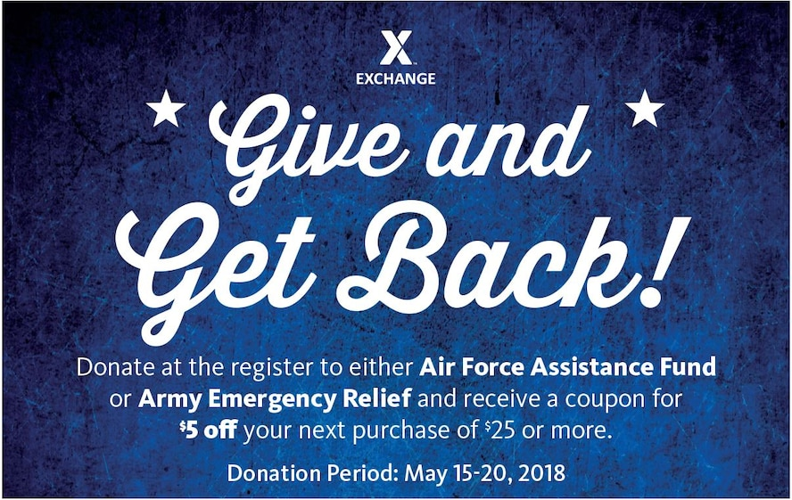 Exchange shoppers can 'Give and Get Back' starting May 15 to help Army, Air Force relief funds