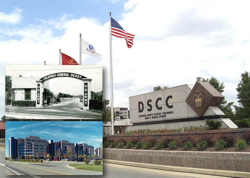 The Broad Gate entrance to the Defense Supply Center Columbus provides an interesting contrast to the entrance (top inset) as it stood in 1938. The seven-story office for DLA Land and Maritime (bottom inset) serves as Defense Supply Center Columbus' main operations center.
