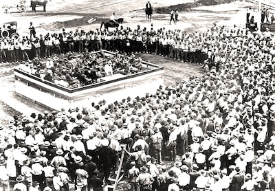 The May 4, 1918, dedication of the Columbus Quartermaster Reserve Depot. More than 3,000 workers built six buildings and a barracks in the first three months. Eventually the facility held nearly 800,000 square feet of warehouse space for World War I supplies.