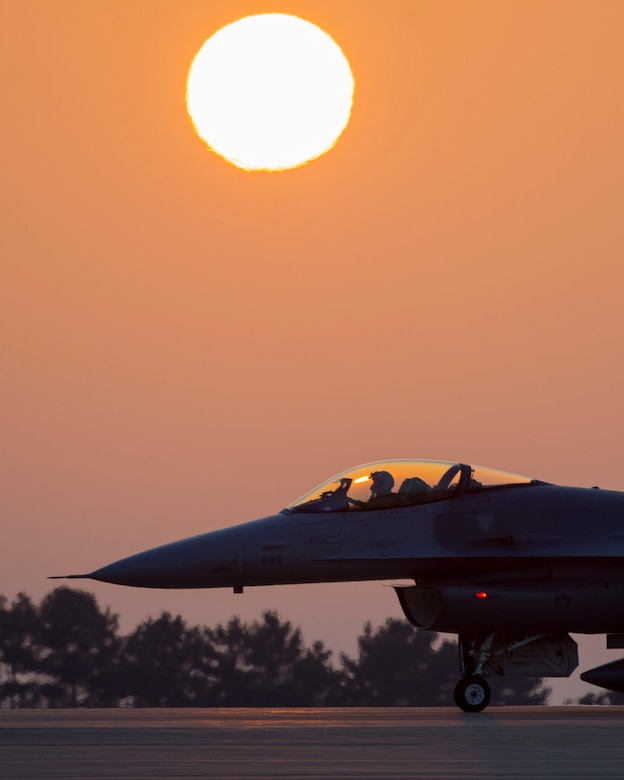 An F-16C Fighting Falcon assigned to the 35th Fighter Squadron taxis to the end of the runway during a regular training sortie at Kunsan Air Base, South Korea, April 17, 2018. The aircraft are generated daily by various maintenance professionals at the 8th Fighter Wing to ensure the F-16 fleet and pilots at Kunsan AB can train to meet Seventh Air Force requirements on the Korean Peninsula. (U.S. Air Force photo by Capt. Christopher Mesnard)