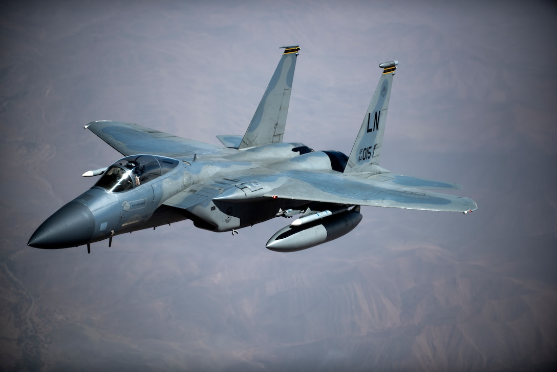 An F-15C Eagle assigned to the 493rd Fighter Squadron flies above Morocco during Exercise African Lion April 20, 2018. Various units from the U.S. armed forces will conduct multilateral and stability operations training with units from the Royal Moroccan Armed Forces in Morocco. This combined multilateral exercise is designed to improve interoperability and mutual understanding of each nation's tactics, techniques and procedures while demonstrating the strong bond between the nation's militaries. (U.S. Air Force photo by Senior Airman Malcolm Mayfield)