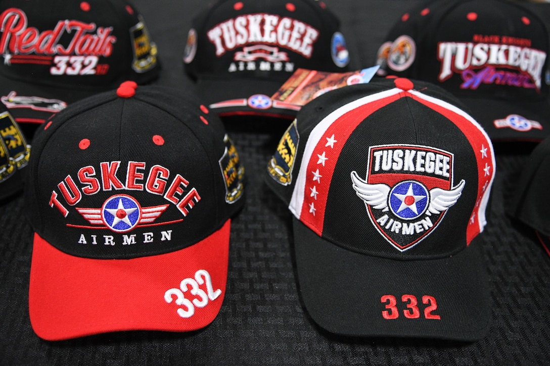 A display of Tuskegee Airmen memorabilia sit atop a table, Hill Air Force Base, Utah, April 20, 2018. Members of the Tuskegee Airmen Heritage Foundation of Greater Sacramento use money from the sale of these items to fund scholarships. (U.S. Air Force photo by R. Nial Bradshaw)