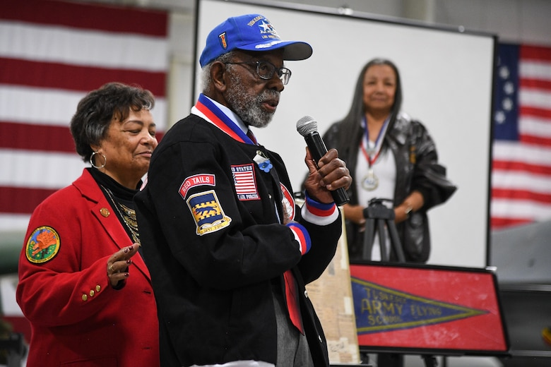 Tuskegee Airman Theodore Lumpkins speaks during a visit to Hill Air Force Base, Utah, April 20, 2018. Lumpkin served as an intelligence officer assigned to the 332 Fighter Squadron during World War II. (U.S. Air Force photo by R. Nial Bradshaw)