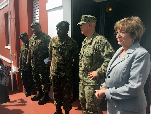 Adm. Kurt W. Tidd talks with Chief of Staff Barbados Defence Force Col. Glyne Grannum