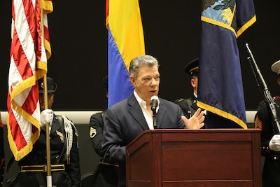 Colombian President Juan Manuel Santos addresses members of U.S. Southern Command during a visit to the organization's headquarters in Miami.