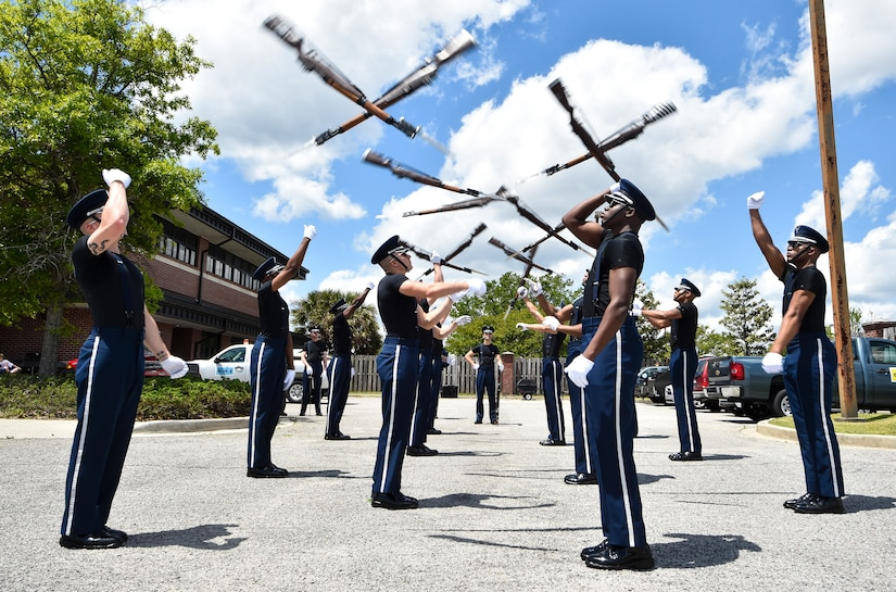 The U.S. Air Force Honor Guard team practices before their performance at the 2018 Air and Space Expo rehearsal at Joint Base Charleston, S.C., April 27, 2018.