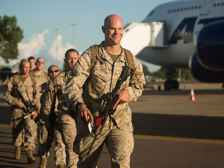 U.S. Marines and Sailors with Marine Rotational Force – Darwin 2018 arrive at the Royal Australian Air Force Base Darwin, Australia.