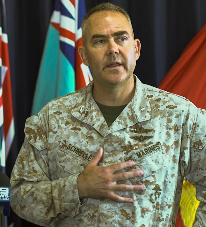 U.S. Marine Corps Col. James Schnelle, commanding officer of Marine Rotational Force-Darwin and Deputy Commander Northern Command CAPT Bryan Parker, Royal Australian Navy hold a press conference at Larrakeyah Defence Precinct, Darwin, Northern Territory, Australia, April 23,