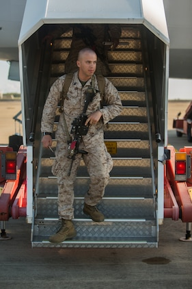 U.S. Marines and Sailors with Marine Rotational Force – Darwin 2018 arrive at the Royal Australian Air Force Base Darwin, Australia.