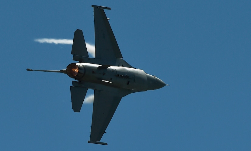An F-16 Fighting Falcon flies overhead during the 2018 Air and Space Expo April 28, 2018, at Joint Base Charleston, S.C.