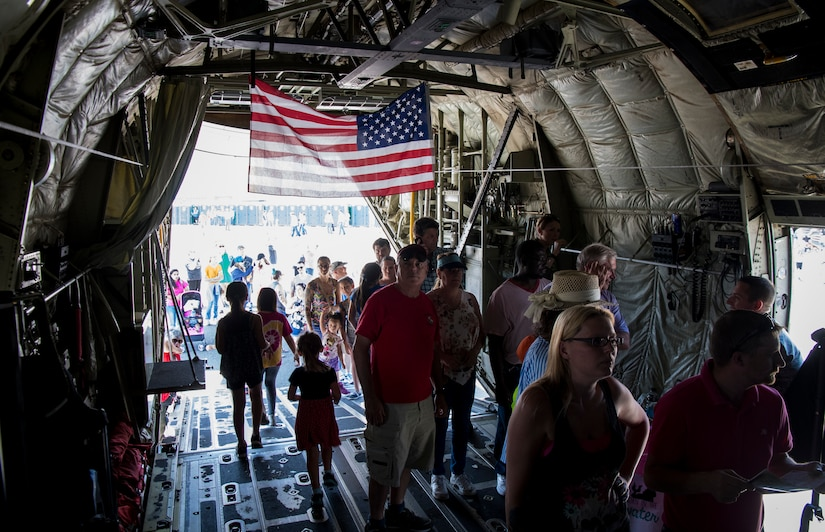 Attendees of the 2018 Joint Base Charleston Air and Space Expo attendees tour a U.S. Air Force C-130J April 28, 2018, at Joint Base Charleston, S.C.