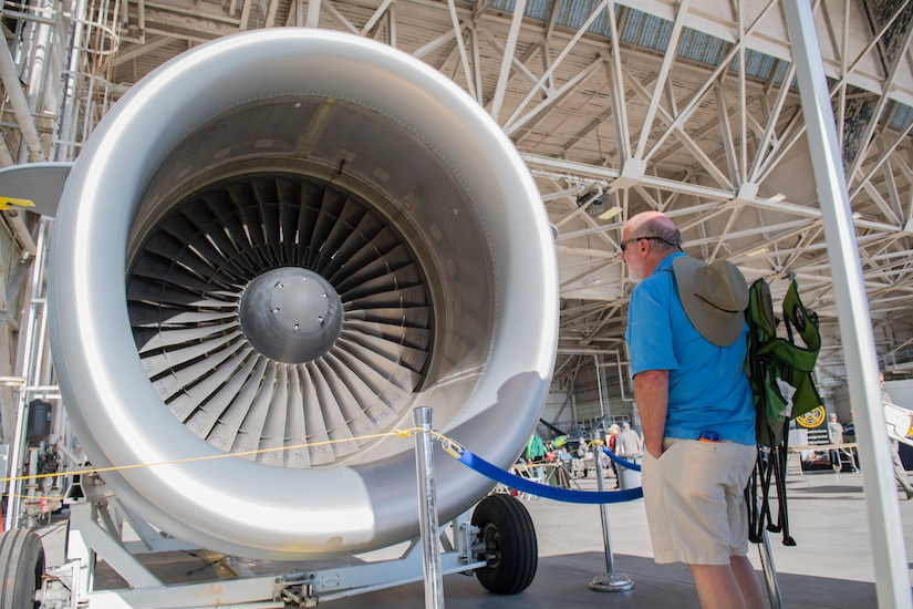 An attendee looks at an aerospace propulsion exhibit during the Joint Base Charleston Air and Space Expo at JB Charleston, S.C.  Apr 28, 2018.