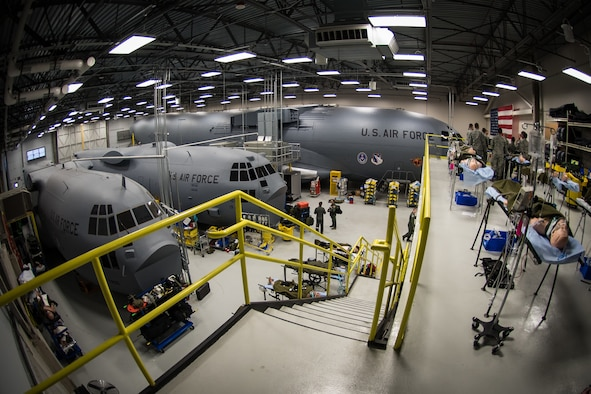 "The ""High Bay"" at the USAFSAM lab at Wright-Patterson Air Force Base, Ohio, April 25, 2018. The 711th Human Performance Wing trains new Critical Care Air Transport Team crew members using two C-130 and one C-17 training airframes. (U.S. Air Force photo by Richard Eldridge)"
