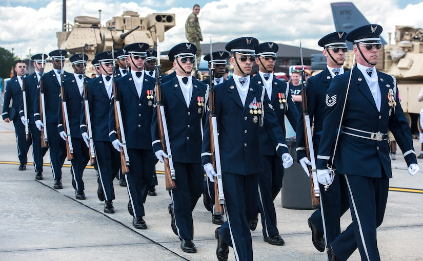 Members of the United States Air Force Honor Guard Drill Team perform during the 2018 Air and Space Expo at Joint Base Charleston, S.C. April 28, 2018.