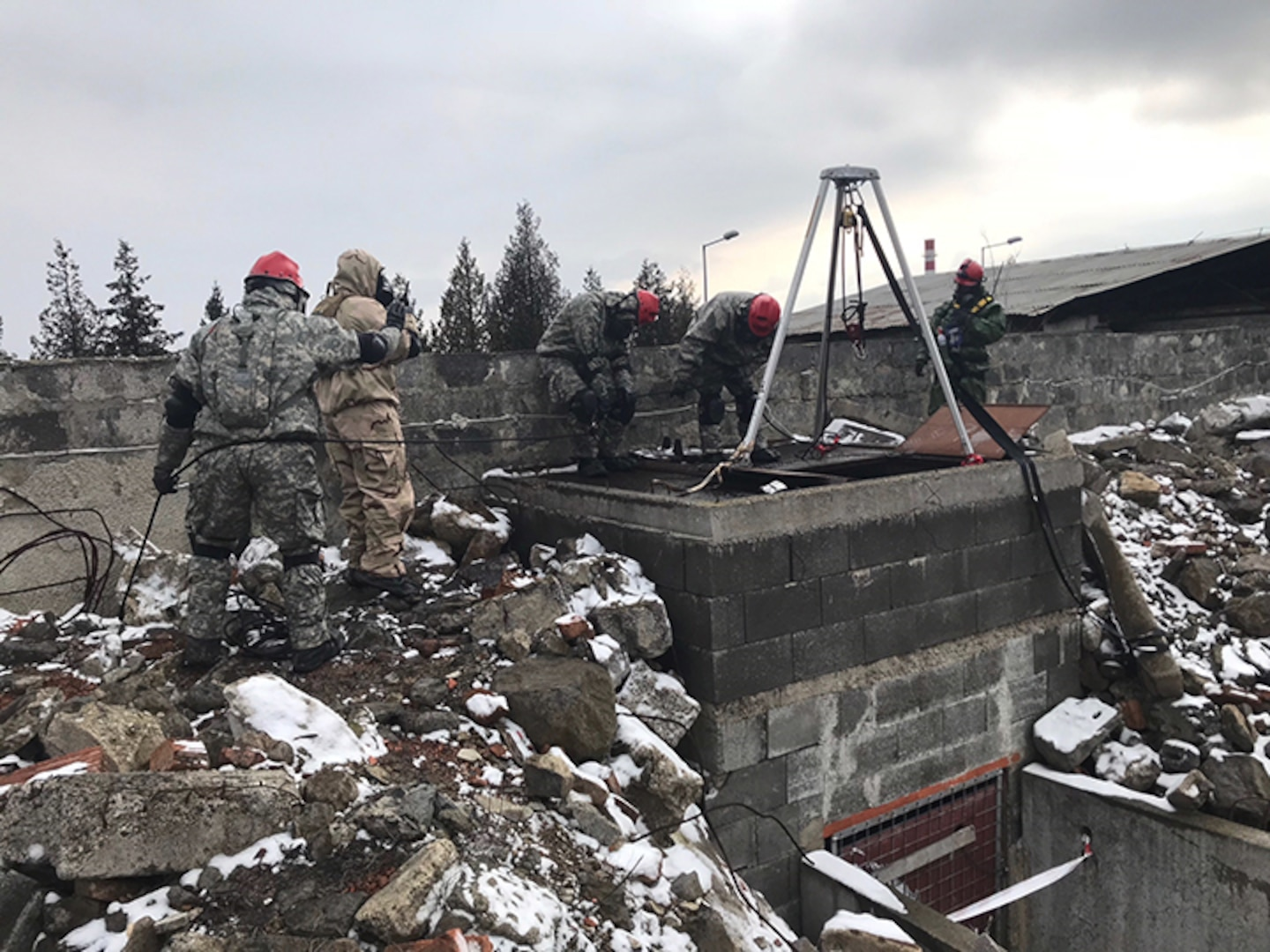 Texas Army National Guard engineers from the 836h Engineer Company, 136th Maneuver Enhancement Brigade, work alongside soldiers from the Indiana National Guard, the Czech Republic and Slovakia in support of Operation Toxic Lance, a search and rescue exercise involving a chemical warfare scenario, March 12-23, 2018, at Training Area Lest in central Slovakia. The soldiers were brought together as part of the National Guard Bureau's State Partnership Program that focuses on building interoperability and strengthening international relationships through military-to-military exchanges.
