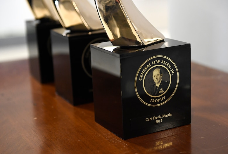Gen. Lew Allen Jr. trophies are on display prior to the Gen. Lew Allen Jr., award ceremony at the Pentagon, Arlington, Va., April 27, 2018. The annual award, named after the 10th Air Force chief of staff, recognizes the accomplishments of base-level officers and senior NCOs in their performance of aircraft, munitions or missile maintenance. (U.S. Air Force photo by Staff Sgt. Rusty Frank)