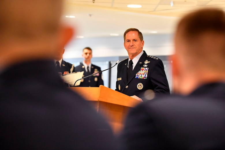 Chief of Staff of the Air Force Gen. David L. Goldfein speaks during the Gen. Lew Allen Jr. award ceremony at the Pentagon, Arlington, Va., April 27, 2018. The annual award, named after the 10th CSAF, recognizes the accomplishments of base-level officers and senior NCOs in their performance of aircraft, munitions or missile maintenance. (U.S. Air Force photo by Staff Sgt. Rusty Frank)