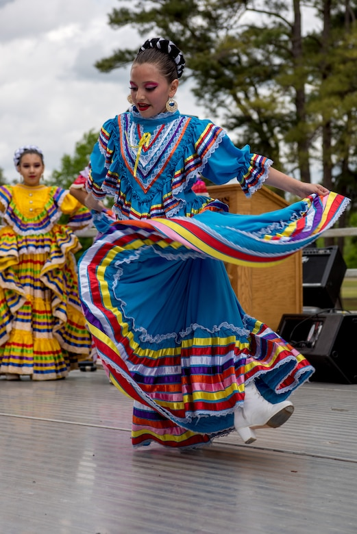 A dancer performs a traditional Mexican dance during a Diversity Day celebration, April 27, 2018, at Seymour Johnson Air Force Base, North Carolina