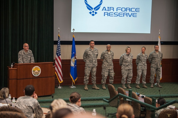 U.S. Air Force Individual Mobilization Augmentee (IMA) Airmen receive recognition for their hard work putting together an Air Force IMA assembly hosted by U.S. Central Command at MacDill Air Force Base, Fla., April 27, 2018.