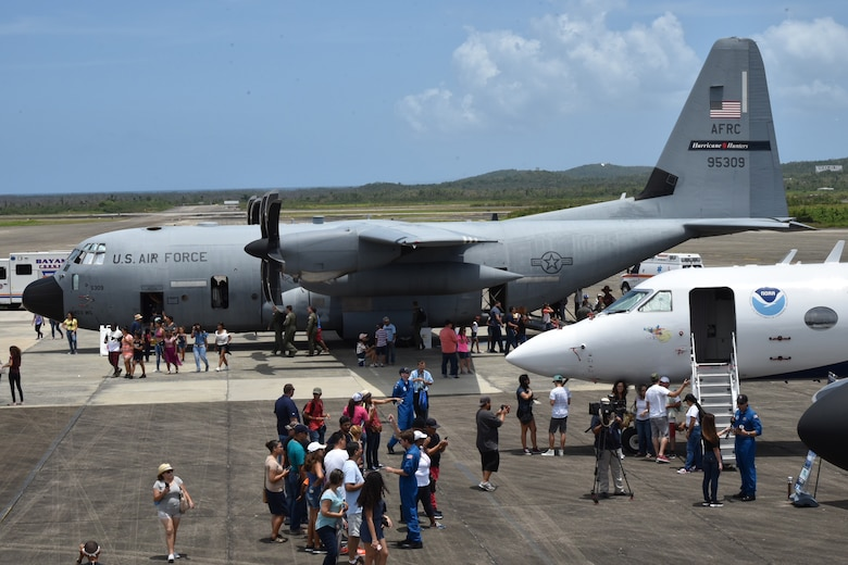 The 53rd Weather Reconnaissance Squadron, also known as the Air Force Reserve Hurricane Hunters, and the National Oceanic and Atmospheric Administration hosts the 2018 Caribbean Hurricane Awareness Tour, April 23-28. The tour is designed to help communities in Mexico and the Caribbean prepare for the season and the coming storms. Visitors toured a WC-130J Super Hercules hurricane hunter aircraft and the NOAA Gulfstream IV. (U.S. Air Force photo by Master Sgt. Jessica Kendziorek)