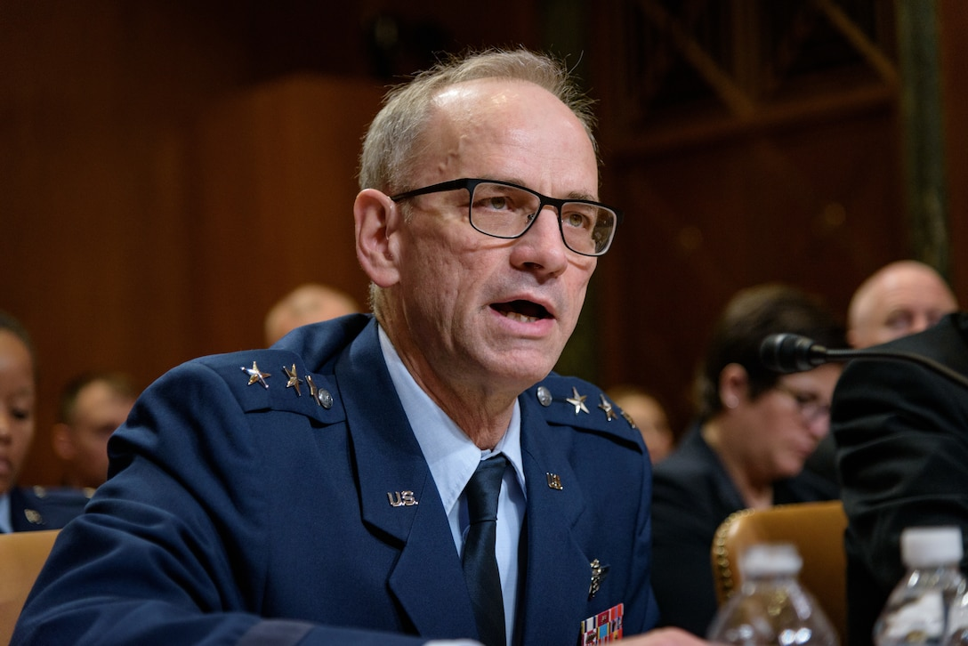 U.S. Air Force Surgeon General Lt. Gen. Mark Ediger testifies before a hearing of the Senate Appropriations Subcommittee on Defense, April 26, 2018. (Photo courtesy of U.S. Senate Photographic Studio)