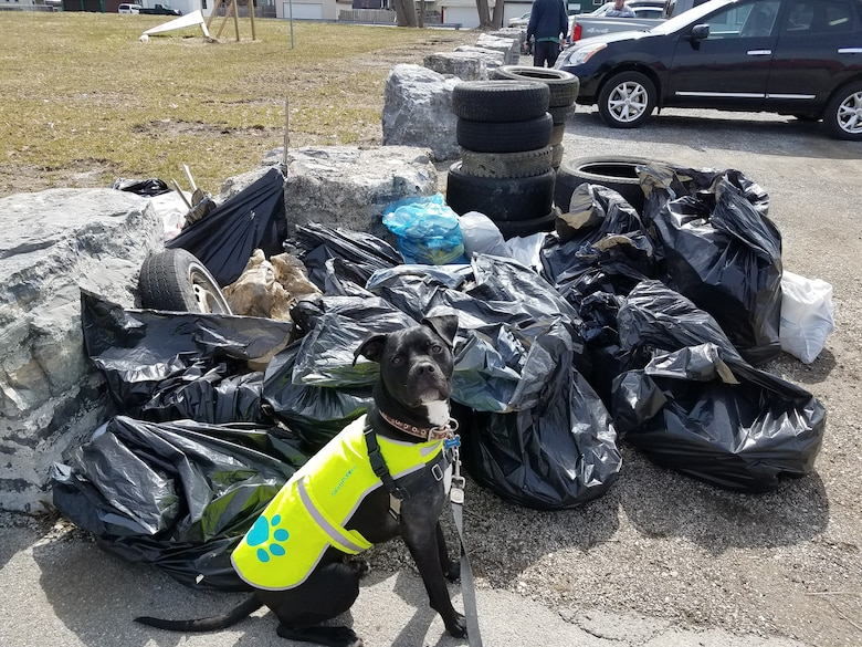 A pile of trash collected from Seneca Bluffs Park as part of a cleanup effort organized by Buffalo Niagara Waterkeepers on Earth Day, Apr. 21, 2018. The park is the site of a U.S. Army Corps of Engineers, Buffalo District habitat restoration project.