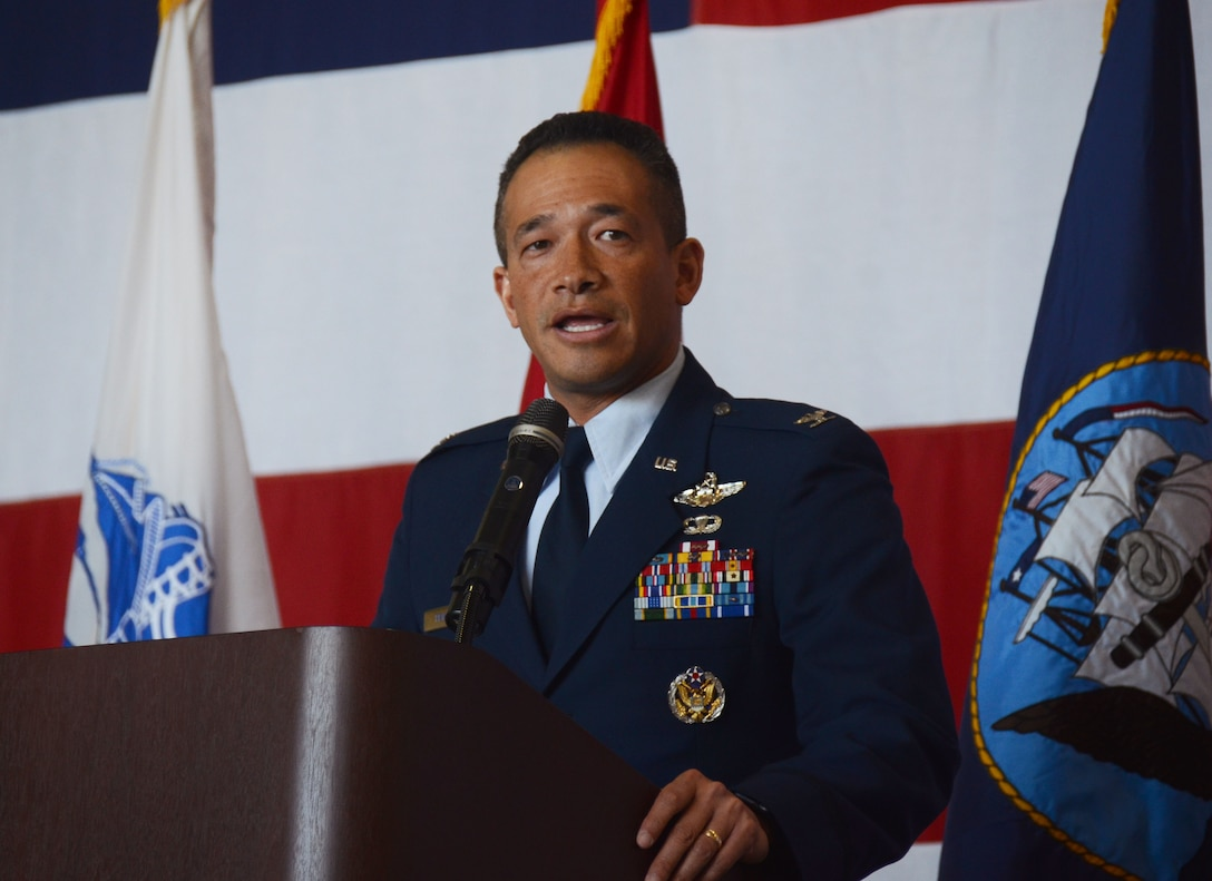 Col. Arthur Primas, U.S. Air Force Academy director of admissions, speaks to attendees at this year's Academy Day, held at Dobbins Air Reserve Base, Ga. April 28, 2018. He discussed the benefits of attending the Air Force Academy to an audience of nearly 1,000. (U.S. Air Force photo/Don Peek)