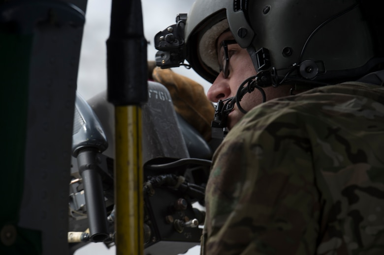 Two HH-60s took to the skies above JBER for the week-long training. The pilots and crew maneuvered though various scenarios before firing at stationary targets.