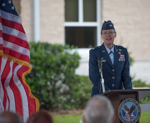 Col. Pamela Smith, 96th Medical Group commander, addresses attendees during the Veterans Affairs Clinic's ribbon-cutting ceremony April 26 at Eglin Air Force Base, Fla.