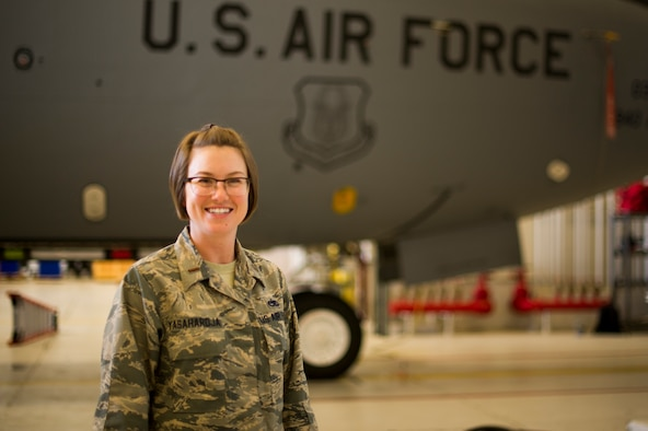 2nd Lt. Vesper M. Yasahardja, 940th Maintenance Group maintenance operations flight commander, stands in front of a KC-135 Stratotanker April 8 at Beale Air Force Base, California.
