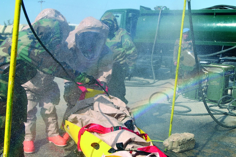 In 2017, members of the Colorado National Guard and the Jordan Armed Forces participate in a CBRN defense exercise in Jordan. (U.S. Air National Guard/ Michelle Y. Alvarez)