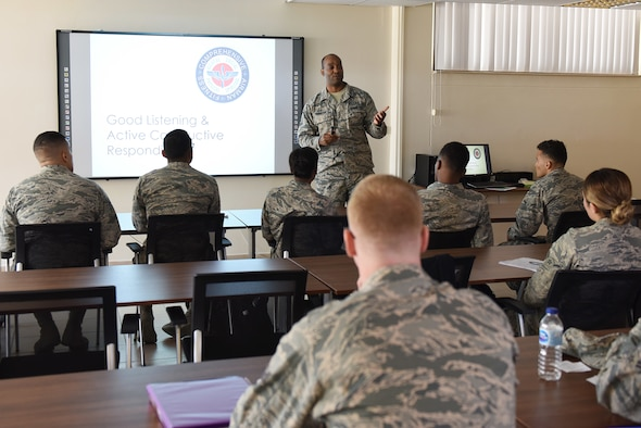 U.S. Air Force Master Sgt. Dexter Robinson, 39th Force Support Squadron career assistance advisor, speaks with Airmen during the First Term Airmen Course at Incirlik Air Base, Turkey, July 24, 2018.