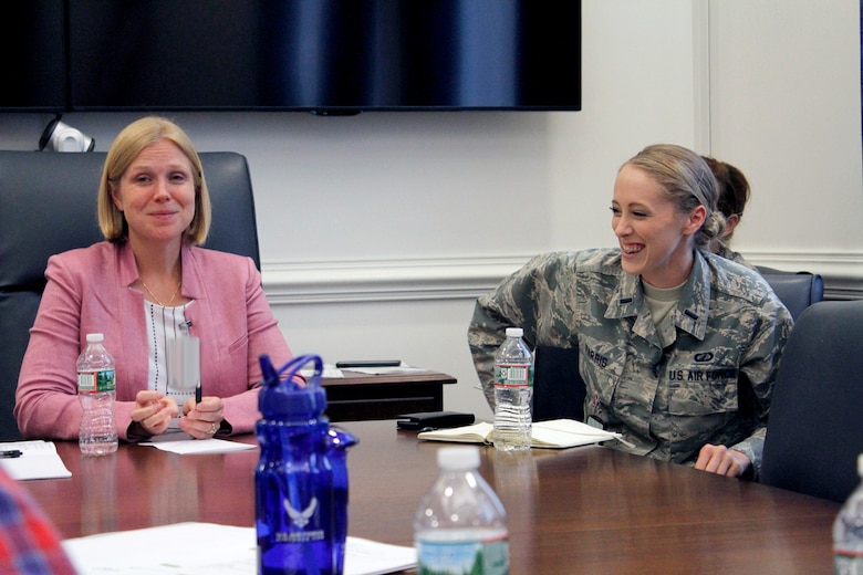 (From left to right) Lauren Knausenberger, director of Cyberspace Innovation, and 1st Lt. Jessica Farris, program manager and engineer, Air Force Life Cycle Management Center, Agile Combat Support Directorate, participate in a women in technology panel during the Air Force Conference, also known as AFCON, at the Pentagon, July 19. AFCON is a one-day immersion into Air Force technology, culture and operations designed for long-form storytellers who typically do not cover the military. (Air Force photo / Svetlana Bilenkina)