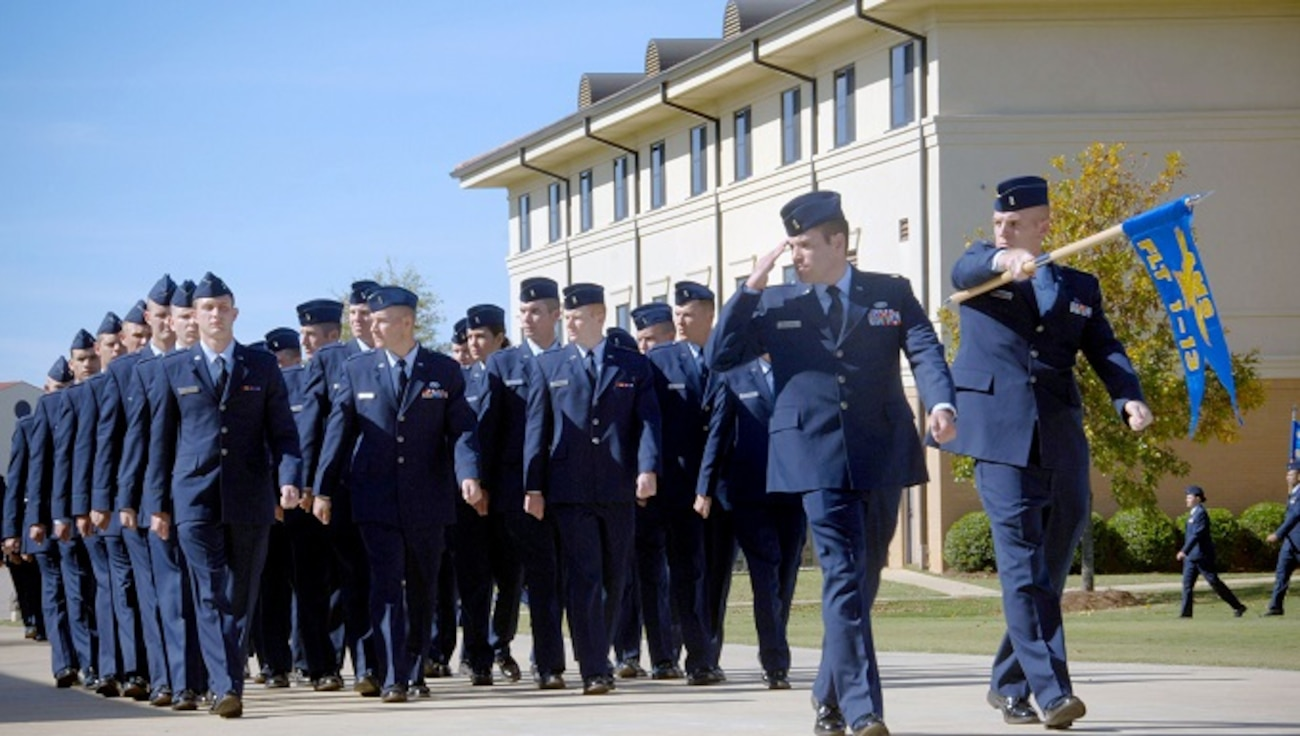 Officer Training School cadets marching in formation