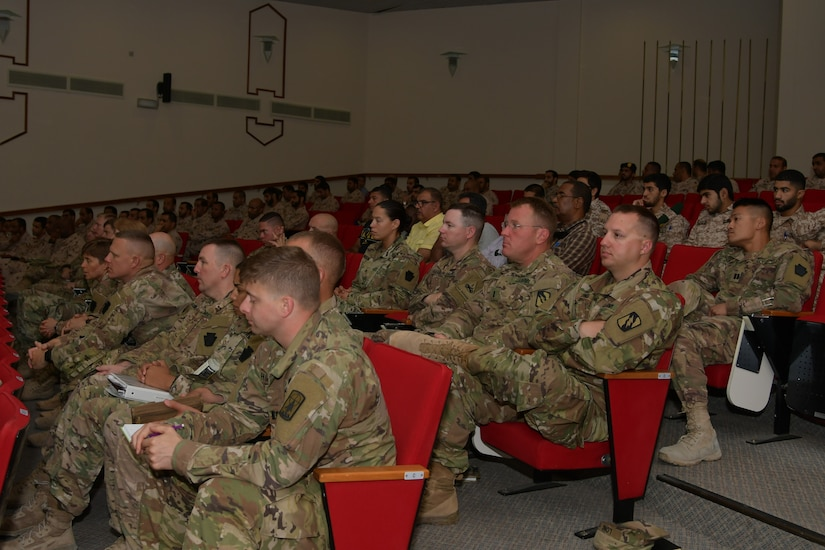 Soldiers with Task Force Spartan and the United Arab Emirates Land Force Component participate in a professional development seminar July 9, 2018 during Iron Union 7. The exercise brought together U.S. and Emirati soldiers to improve coordination and communication.
