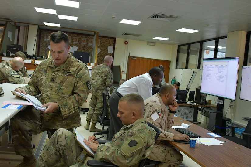 Soldiers with Task Force Spartan and the United Arab Emirates Land Force Component participate in the Iron Union 7 exercise July 9, 2018. The exercise brought together U.S. and Emirati soldiers to improve coordination and communication.