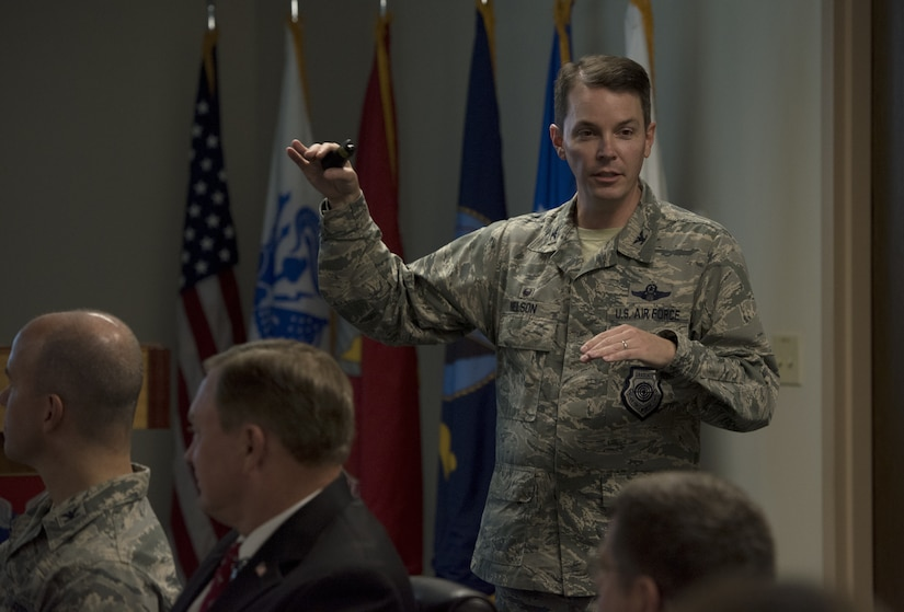 U.S. Air Force Col. Jeffery Nelson, 628th Air Base Wing commander, gives a mission brief, to the Defense Health Agency leadership July 30, 2018.